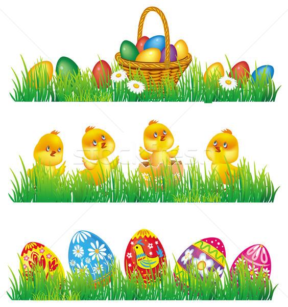Paaseieren kip gras Pasen voorjaar jonge Stockfoto © Wikki