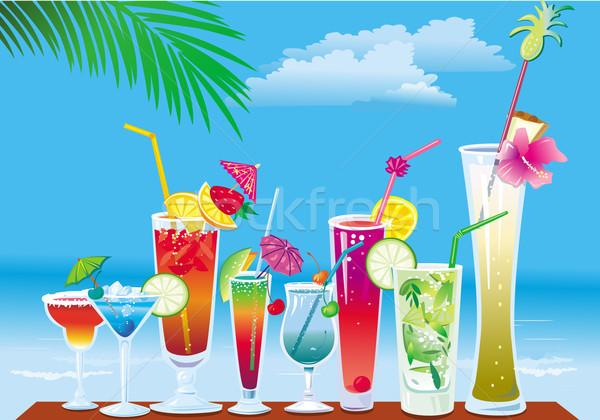 коктейли пляж небе воды оранжевый пить Сток-фото © Wikki