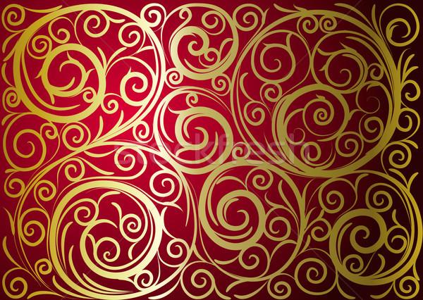 Stockfoto: Goud · ornament · gras · frame · kunst · Rood