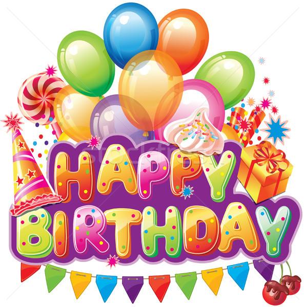 С Днем Рождения текста вечеринка элемент счастливым конфеты Сток-фото © Wikki