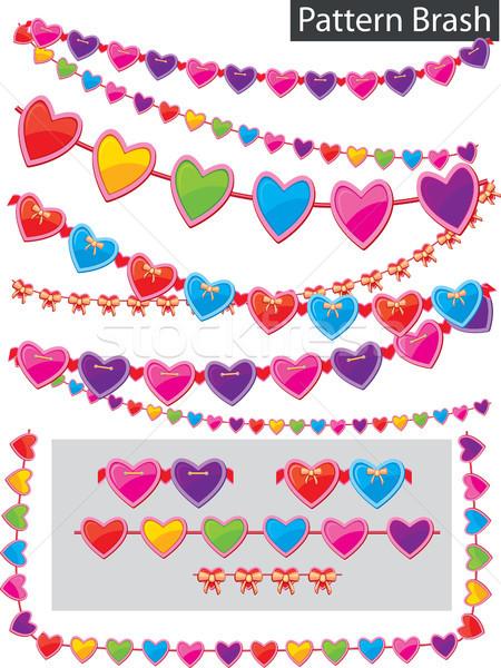 Pattern brash - garland of hearts Stock photo © Wikki