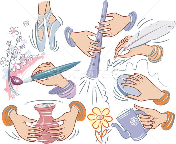 Ingesteld creativiteit ontwerp potlood dansen onderwijs Stockfoto © Wikki