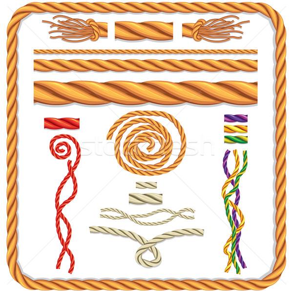 Vector touw patroon doek cirkel grens Stockfoto © Wikki