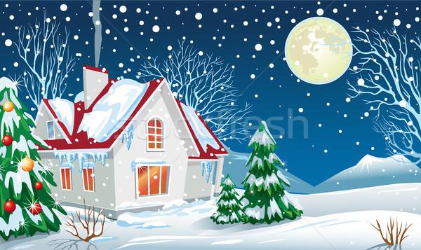 Winter landschap huis home maan rook Stockfoto © Wikki