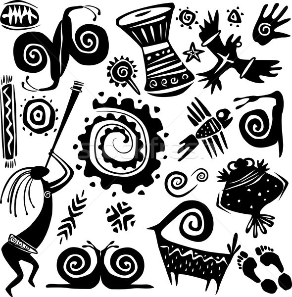 Elements for designing primitive art Stock photo © Wikki