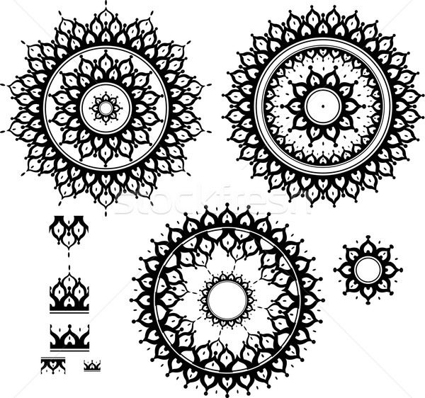 Ornament patroon borstel ontwerp frame zwarte Stockfoto © Wikki