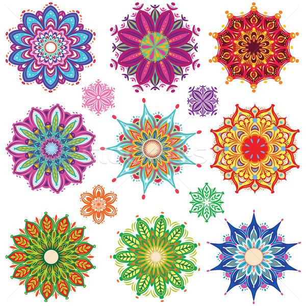 Ingesteld ornament patronen bloem patroon tattoo Stockfoto © Wikki
