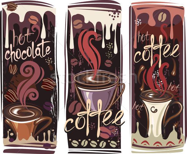 Banners koffie chocolade rook drinken silhouet Stockfoto © Wikki