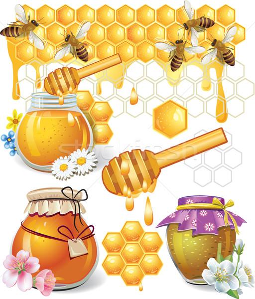 Honing voedsel natuur bee stick jar Stockfoto © Wikki