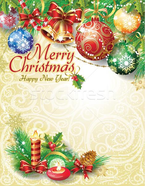Stockfoto: Christmas · boom · achtergrond · winter · lint · vakantie