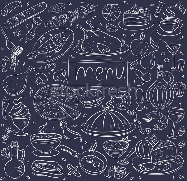 Alimentos boceto café peces huevo cocina Foto stock © Wikki