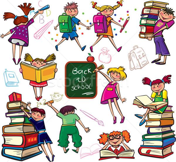 Terug naar school kinderen onderwijs leuk zak kid Stockfoto © Wikki