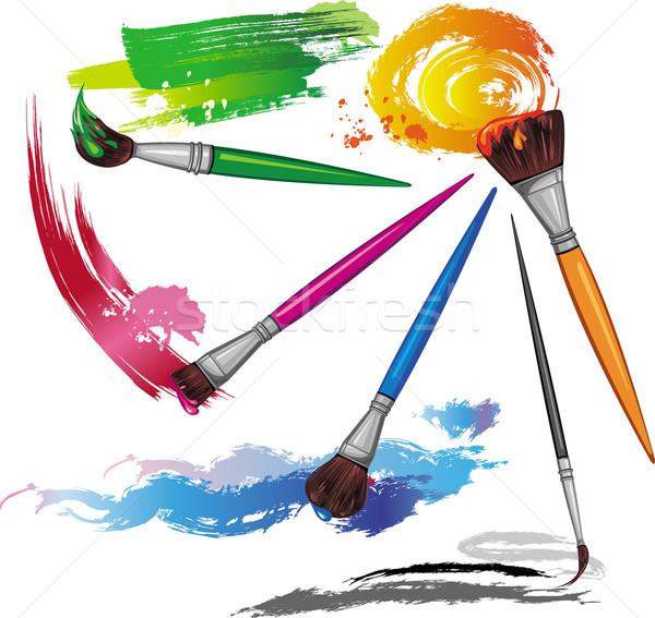 Kleur penseel spatten verf kunst inkt Stockfoto © Wikki