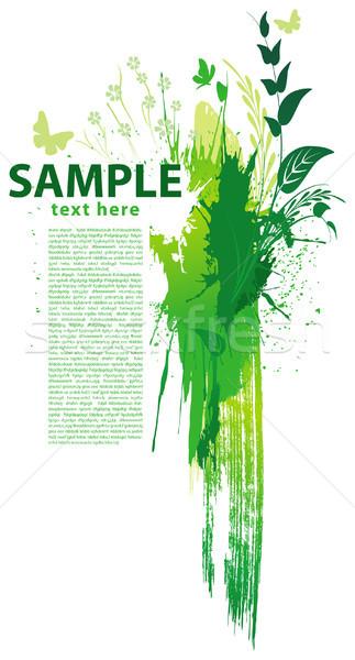 Groene grunge blad frame kunst schone Stockfoto © Wikki