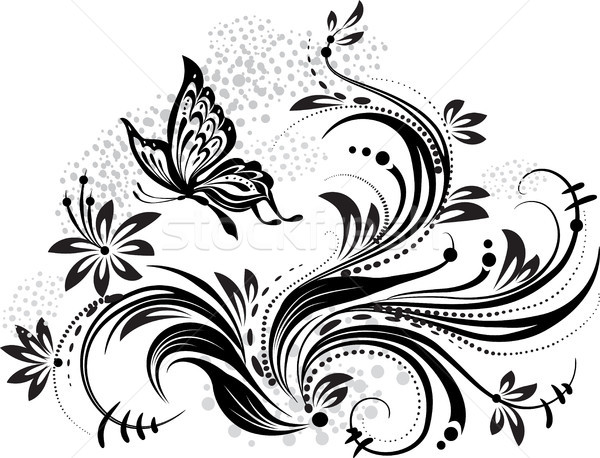 Stock photo: Floral design element and butterfly