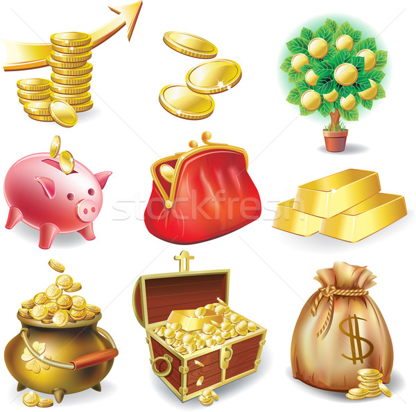 набор иконки финансовых деньги сумку золото Сток-фото © Wikki