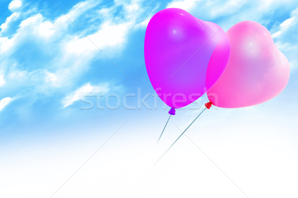 Stockfoto: Gekleurd · ballonnen · hartvorm · blauwe · hemel · partij · liefde