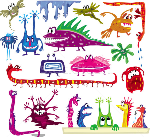 A set of colored cartoon monsters Stock photo © Wikki
