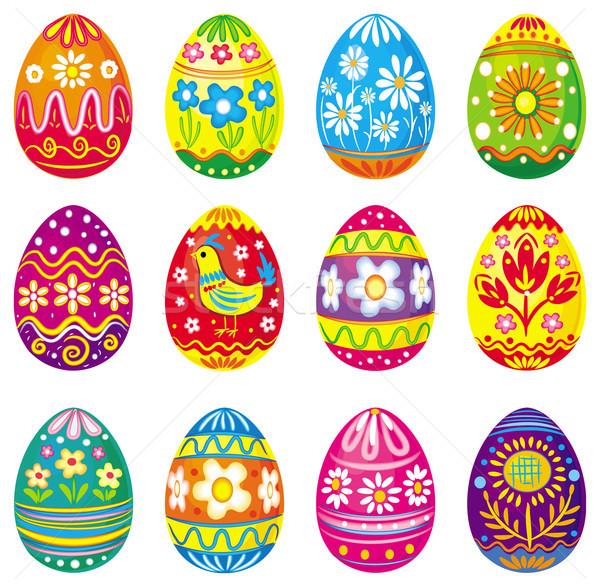 Collectie vector eieren Pasen bloem voorjaar Stockfoto © Wikki