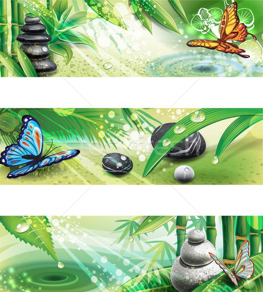 Drie horizontaal banners spa water natuur Stockfoto © Wikki