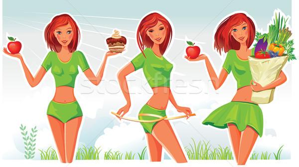 Stockfoto: Vrouw · meisje · lichaam · appel · vruchten
