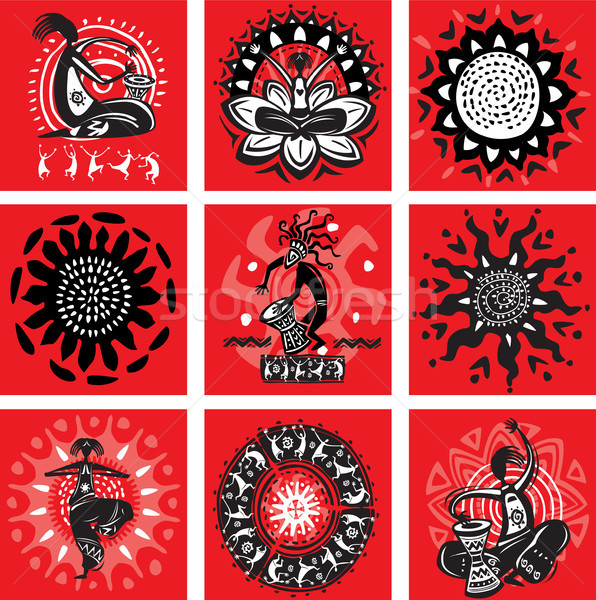 A set of pictures with ethnic motifs Stock photo © Wikki