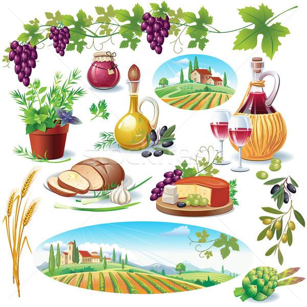 Stockfoto: Ingesteld · voedsel · wijn · natuur · landschap · fles
