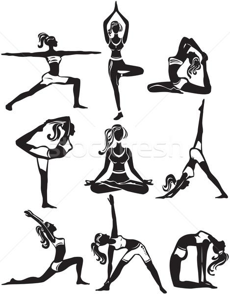 Ingesteld mediteren yoga meisje gezondheid sport Stockfoto © Wikki