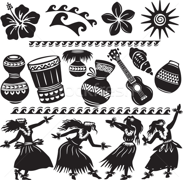 Hawaiian Set with dancers and musical instruments  Stock photo © Wikki