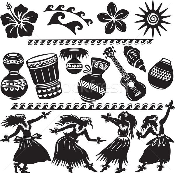 набор танцоры музыкальные инструменты женщину цветок Dance Сток-фото © Wikki