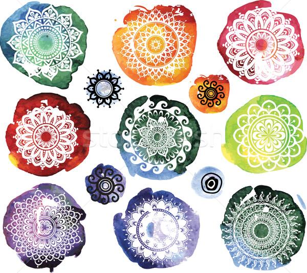 Ingesteld ornament patroon aquarel ontwerp verf Stockfoto © Wikki