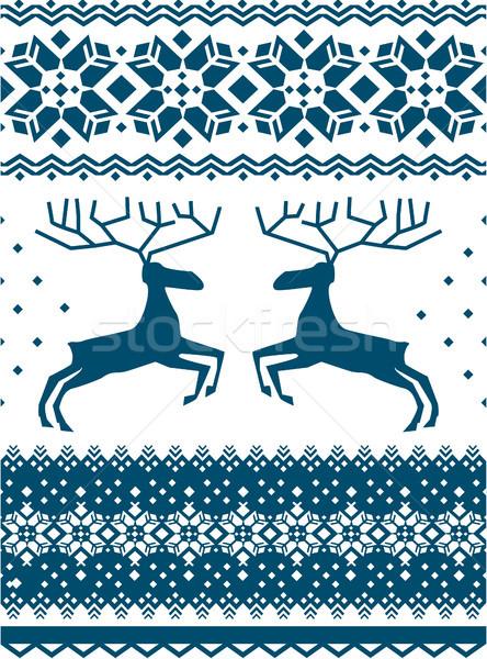 Noors patroon winter herten textiel decoratie Stockfoto © Wikki