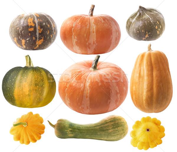 Ingesteld pompoenen witte voedsel oranje plantaardige Stockfoto © Wikki