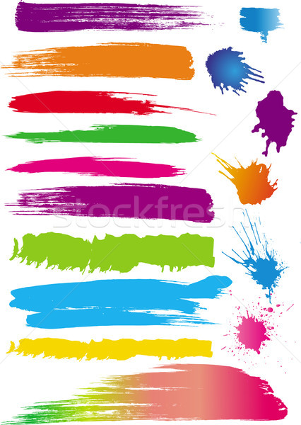 Set of colour line brushes Stock photo © Wikki