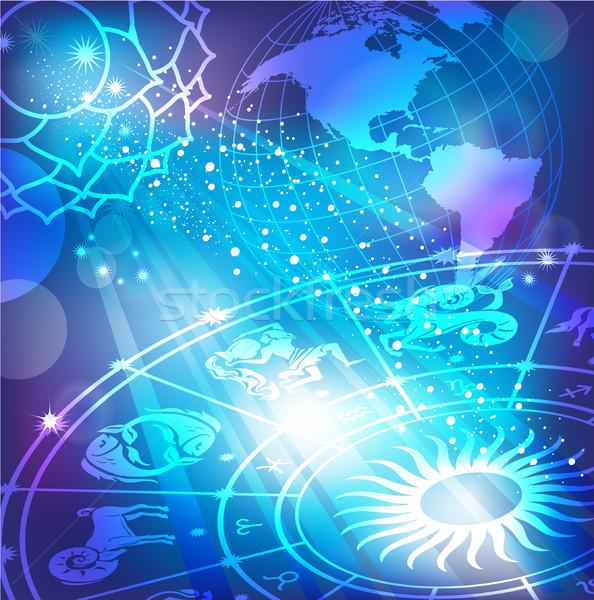 Blue background with a horoscope Stock photo © Wikki