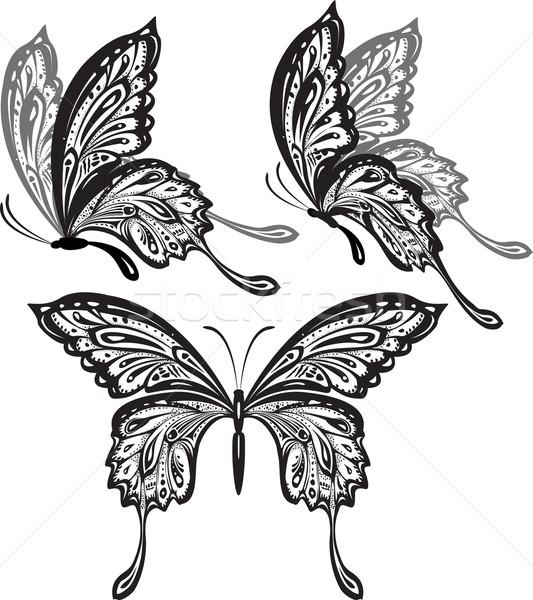 Vlinders voorjaar vlinder zomer zwarte silhouet Stockfoto © Wikki