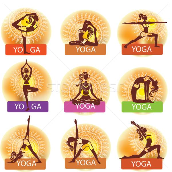 Foto d'archivio: Set · donna · yoga · ragazza · salute