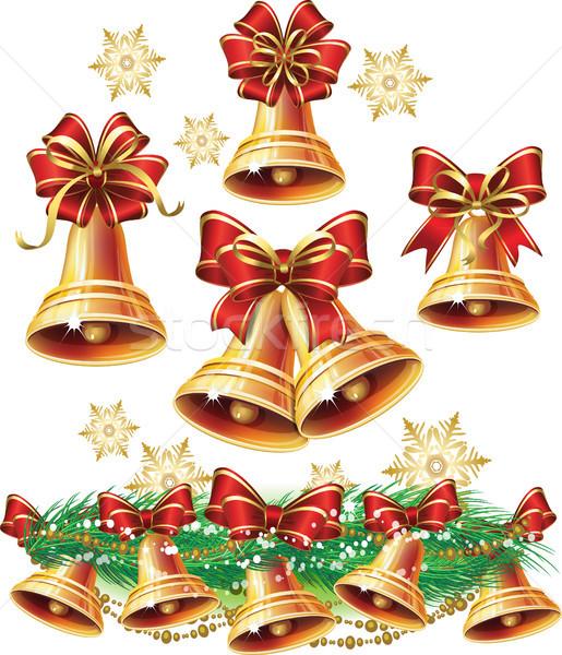 Christmas bel licht speelgoed geschenk lint Stockfoto © Wikki