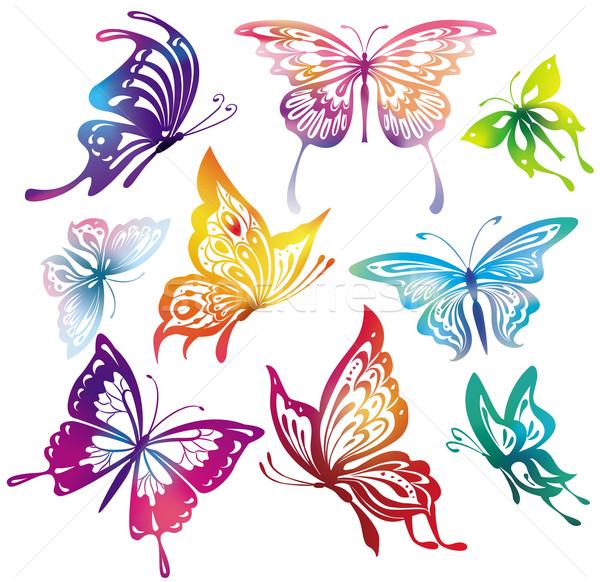 бабочки весны природы силуэта лет Сток-фото © Wikki