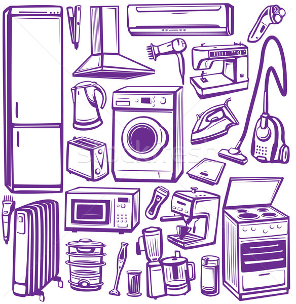 Set of household appliances Stock photo © Wikki