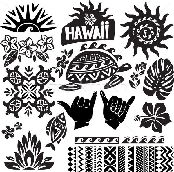 Hawaii ingesteld zwart wit vis ontwerp tattoo Stockfoto © Wikki