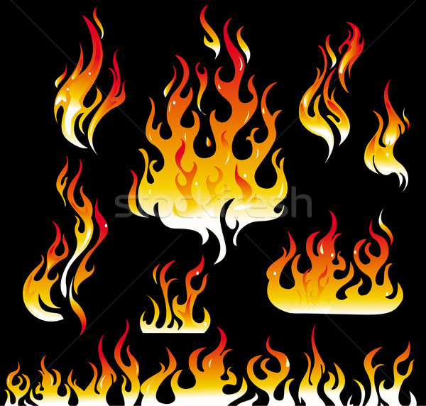 Fire graphic elements on black background Stock photo © Wikki