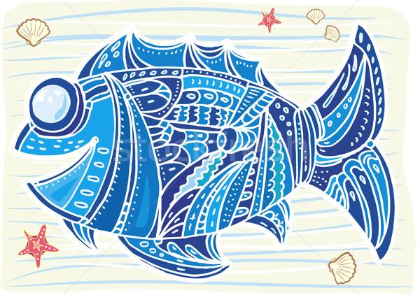 Decoratief vis water natuur kunst Blauw Stockfoto © Wikki