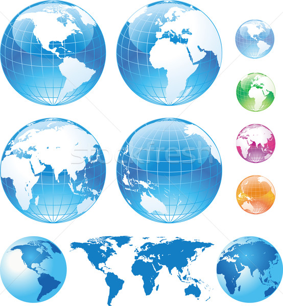 Color glossy globes and map Stock photo © Wikki