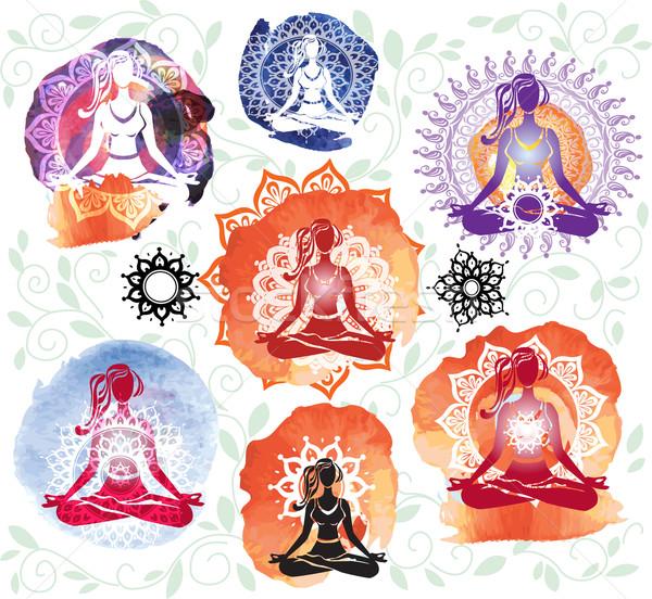 Stockfoto: Silhouet · vrouw · mediteren · lotus · positie · gezondheid