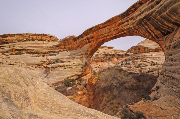 Természetes híd patak piros kő vidék Stock fotó © wildnerdpix