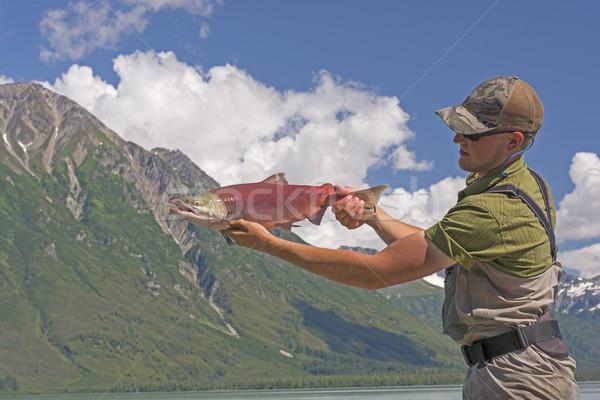 漁師 鮭 三日月形 湖 アラスカ州 ストックフォト © wildnerdpix