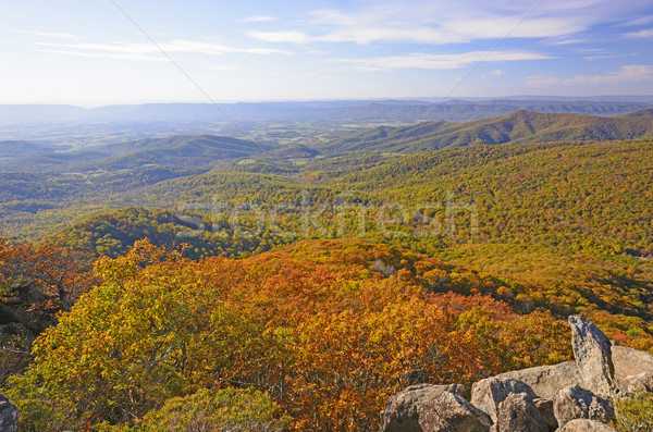 Panorama automne Rock parc Virginie nature Photo stock © wildnerdpix