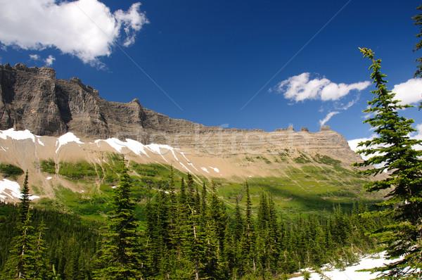 Stock photo: Mountain ridge with summer snow