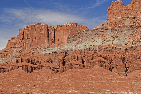Dramatic Red Rock Cliffs and Formations in the Desert Stock photo © wildnerdpix